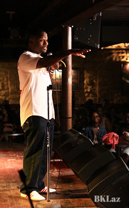 Comedian Arvin Mitchell work ing the crowd at Blueberry Hill