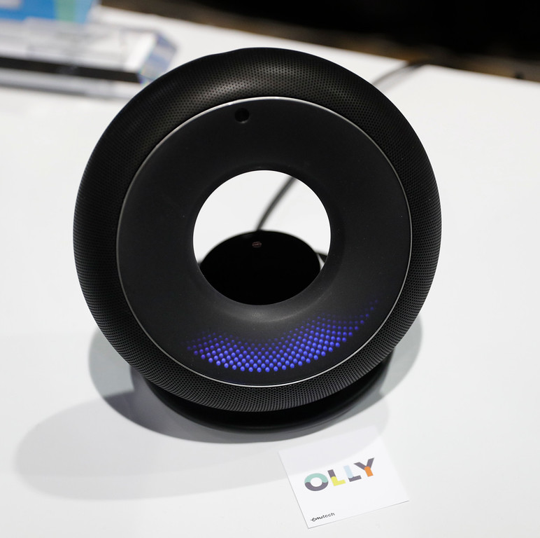 . The Olly personal assistant is displayed at the Emotech booth during CES Unveiled before CES International, Tuesday, Jan. 3, 2017, in Las Vegas. The personal assistant is designed to adapt how it interacts with a person based on the person\'s mood and personality. (AP Photo/John Locher)