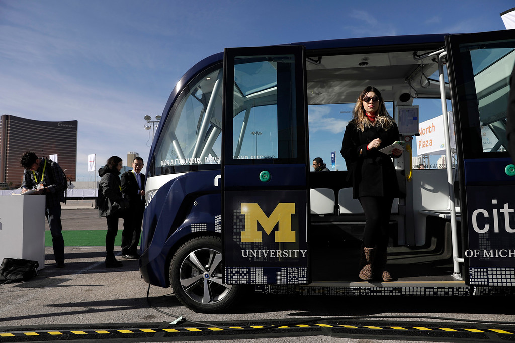 . A Navya autonomous electric driverless vehicle is on display during CES International, Friday, Jan. 6, 2017, in Las Vegas. (AP Photo/John Locher)