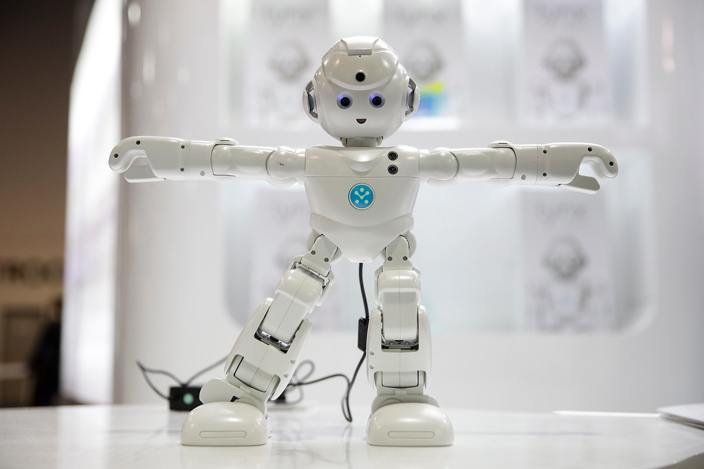 . UBTECH\'s Lynx, a video-enabled humanoid robot with Amazon Alexa, is demonstrated at CES International Friday, Jan. 6, 2017, in Las Vegas. (AP Photo/Jae C. Hong)