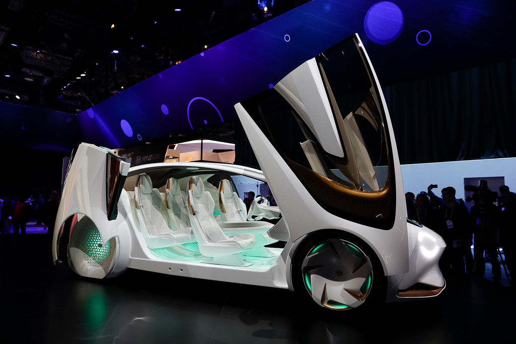 . The Toyota Concept-i is on display at CES International Thursday, Jan. 5, 2017, in Las Vegas. (AP Photo/Jae C. Hong)