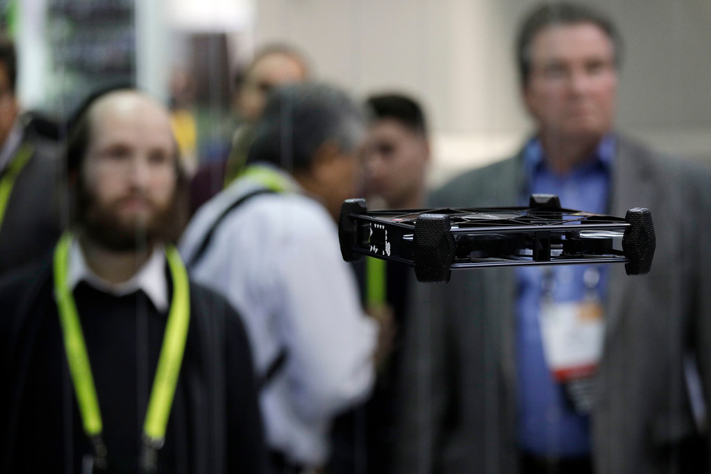 . The AEE Rova drone flies at the AEE booth during CES International, Thursday, Jan. 5, 2017, in Las Vegas. (AP Photo/John Locher)