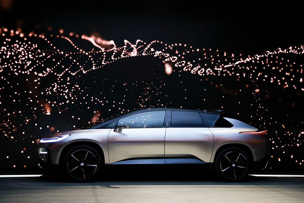 . Faraday Future\'s FF91 electric car is unveiled during a news conference at CES International Tuesday, Jan. 3, 2017, in Las Vegas. (AP Photo/Jae C. Hong)