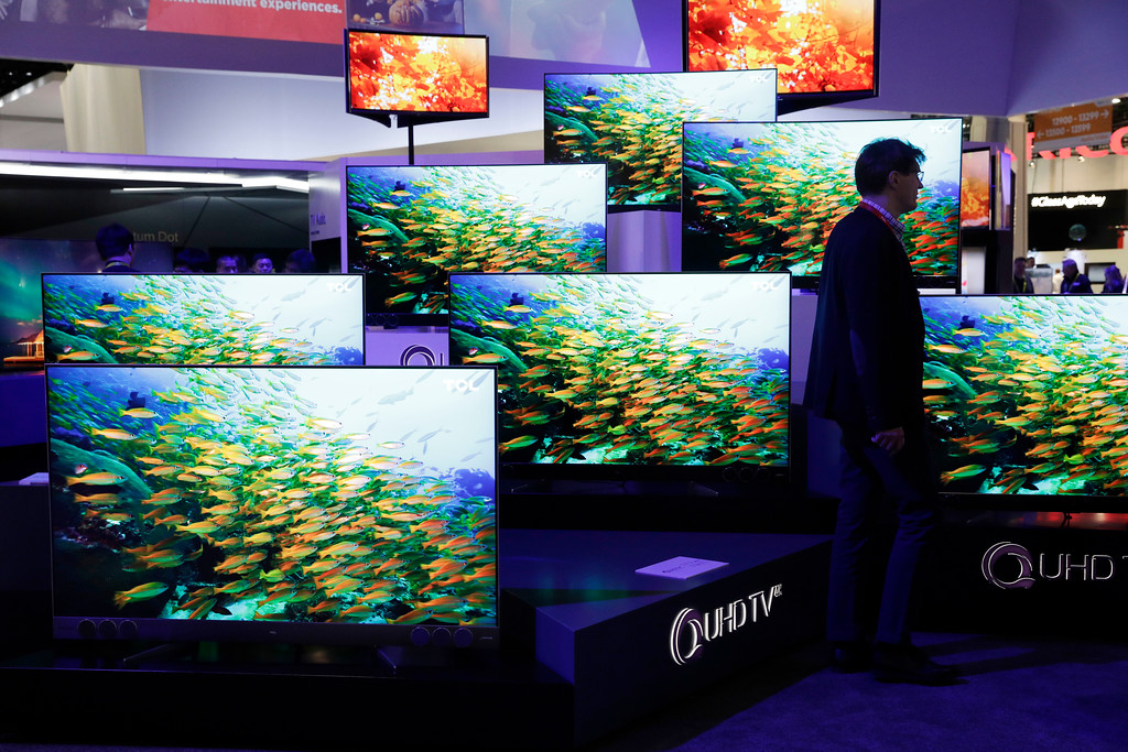 . QUHD TVs are on display at the TCL booth during CES International, Thursday, Jan. 5, 2017, in Las Vegas. (AP Photo/John Locher)