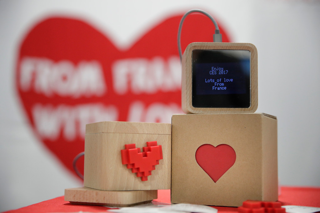 . LoveBox devices are on display at CES International Friday, Jan. 6, 2017, in Las Vegas. The device is designed to receive private messages through an Internet connection. (AP Photo/Jae C. Hong)