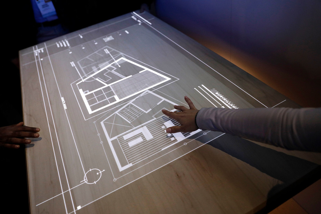 . The Smart Table interactive table is on display at the Panasonic booth during CES International, Thursday, Jan. 5, 2017, in Las Vegas. (AP Photo/John Locher)