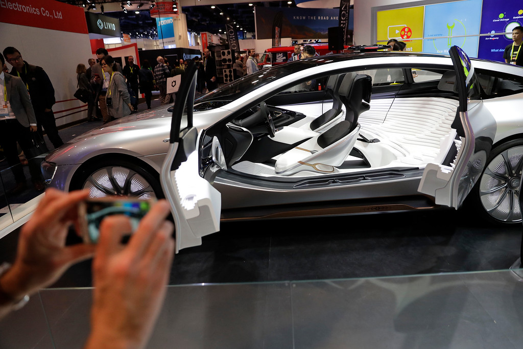 . LeEco\'s LeSEE Pro self-driving electric car is showcased at CES International Thursday, Jan. 5, 2017, in Las Vegas. (AP Photo/Jae C. Hong)
