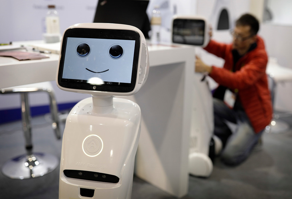 . The Amy robot is on display at the Amy Robotics booth during CES International, Saturday, Jan. 7, 2017, in Las Vegas. (AP Photo/John Locher)
