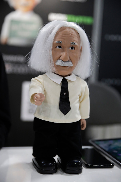 . Educational robot Professor Einstein is on display at CES International Friday, Jan. 6, 2017, in Las Vegas. (AP Photo/Jae C. Hong)