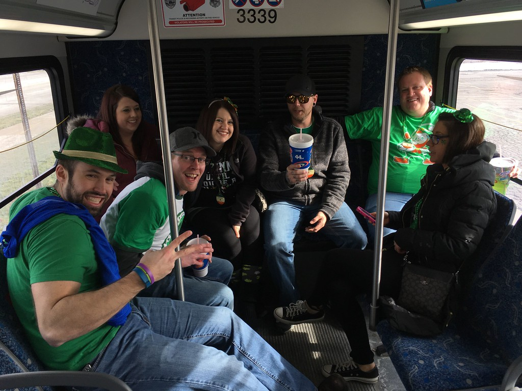 . David S. Glasier � The News-Herald <br> Matthew Hink of Willoughy Hills and his friends...making their annual trek to the St. Patrick\'s Say Parade.