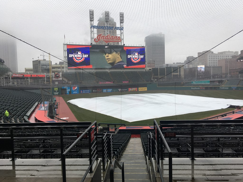 . Progressive Field panorama, 8 days to home opener. David S. Glasier, The News-Herald