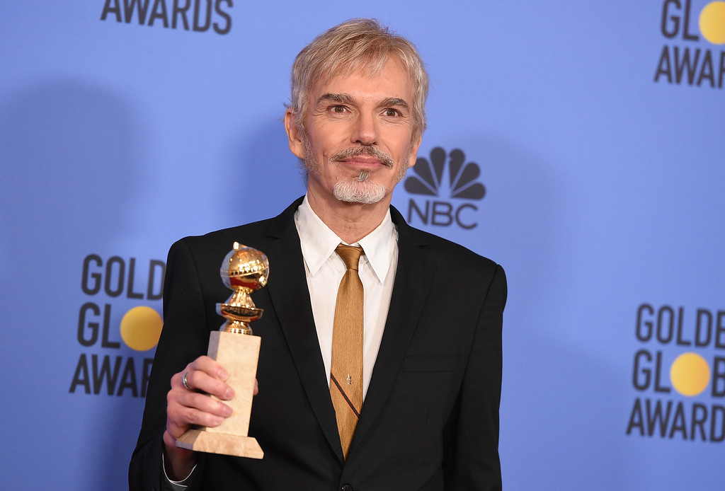 """. Billy Bob Thornton poses in the press room with the award for best performance by an actor in a television series - drama for \""""Goliath\"""" at the 74th annual Golden Globe Awards at the Beverly Hilton Hotel on Sunday, Jan. 8, 2017, in Beverly Hills, Calif. (Photo by Jordan Strauss/Invision/AP)"""