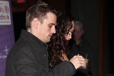 Aaron Carter and Karina Smirnoff prior to the meet and greet at the Mohegan Sun Resort in Uncasville, Connecticut on January 3, 2016.