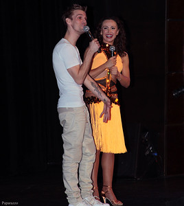 Aaron Carter and Karina Smirnoff during the live question-and-answer event at the Mohegan Sun Resort in Uncasville, Connecticut on January 3, 2016