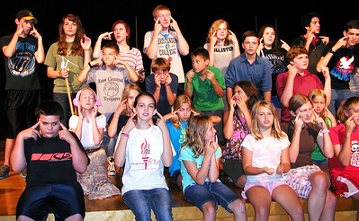 Debbie Blank | The Herald-Tribune Young actors emote during Wednesday's musical rehearsal.