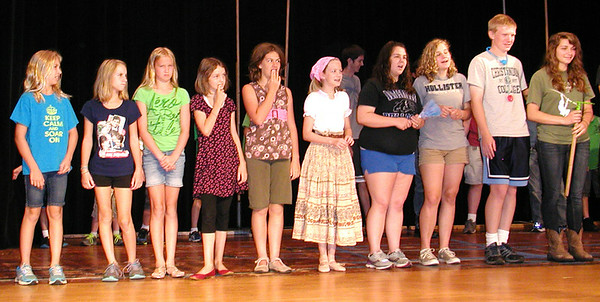 Debbie Blank   The Herald-Tribune <br /> Youth portraying Madrigals and other actors learn their stage movements.