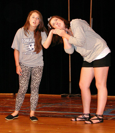 Debbie Blank | The Herald-Tribune<br /> Beauty, portrayed by Abby Chipps (left), and co-director Jordan Wofford, who plays Serafina, run through a scene Wednesday.