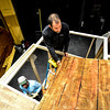 "KRISTOPHER RADDER - BRATTLEBORO REFORMER<br /> David Stern, Chip O'Brien, and Ed Dinnany work to build a two-level set for the Bellows Falls Opera House performance of ""Sweeney Todd: the Demon Barber of Fleet Street,"" that will open on Thursday, March 16 for a two-weekend run."