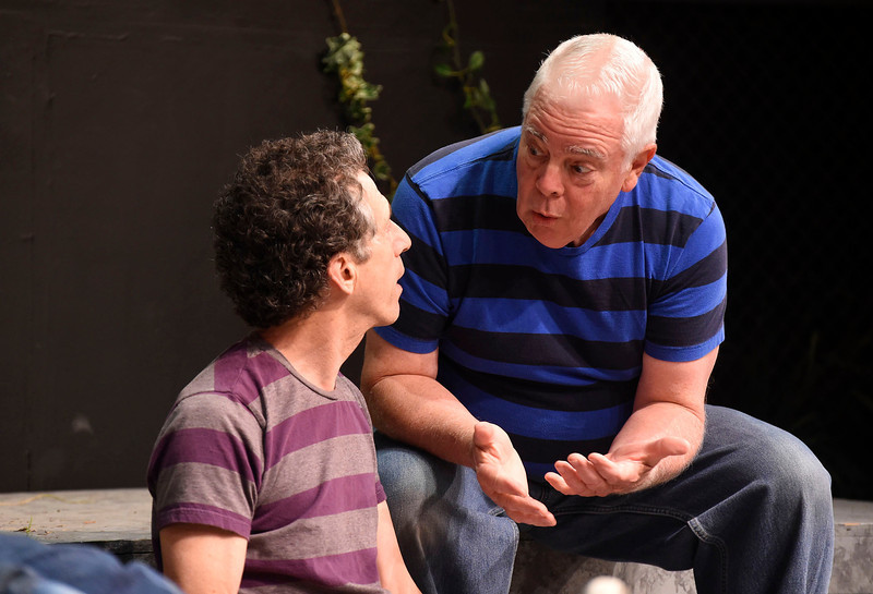 "Kayla Rice/Reformer<br /> Jim Bombicino and Bob Gruen from the Actors Theatre Playhouse rehearse for ""Found a Peanut""."