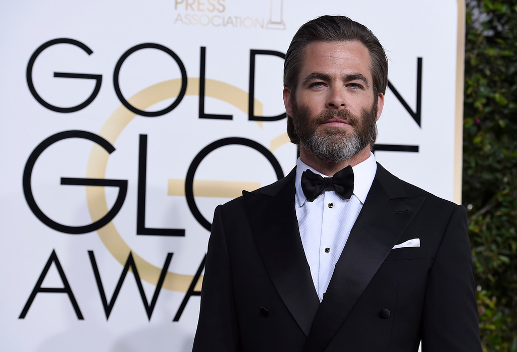 . Chris Pine arrives at the 74th annual Golden Globe Awards at the Beverly Hilton Hotel on Sunday, Jan. 8, 2017, in Beverly Hills, Calif. (Photo by Jordan Strauss/Invision/AP)