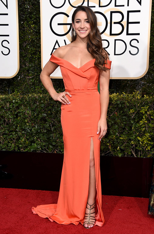 . Aly Raisman arrives at the 74th annual Golden Globe Awards at the Beverly Hilton Hotel on Sunday, Jan. 8, 2017, in Beverly Hills, Calif. (Photo by Jordan Strauss/Invision/AP)