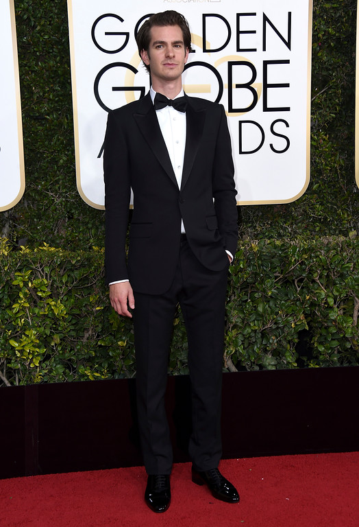 . Andrew Garfield arrives at the 74th annual Golden Globe Awards at the Beverly Hilton Hotel on Sunday, Jan. 8, 2017, in Beverly Hills, Calif. (Photo by Jordan Strauss/Invision/AP)