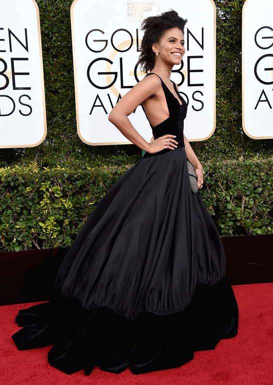 . Zazie Beetz arrives at the 74th annual Golden Globe Awards at the Beverly Hilton Hotel on Sunday, Jan. 8, 2017, in Beverly Hills, Calif. (Photo by Jordan Strauss/Invision/AP)