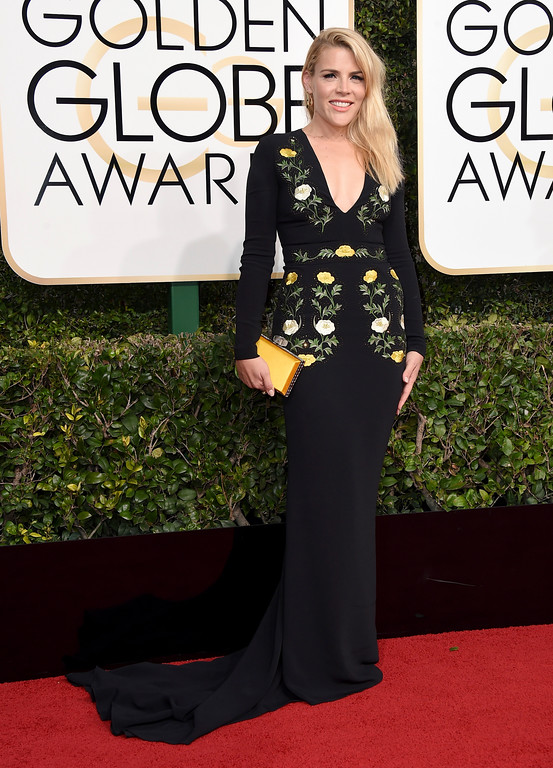 . Busy Philipps arrives at the 74th annual Golden Globe Awards at the Beverly Hilton Hotel on Sunday, Jan. 8, 2017, in Beverly Hills, Calif. (Photo by Jordan Strauss/Invision/AP)