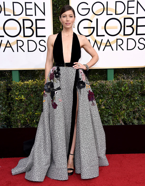 . Jessica Biel arrives at the 74th annual Golden Globe Awards at the Beverly Hilton Hotel on Sunday, Jan. 8, 2017, in Beverly Hills, Calif. (Photo by Jordan Strauss/Invision/AP)