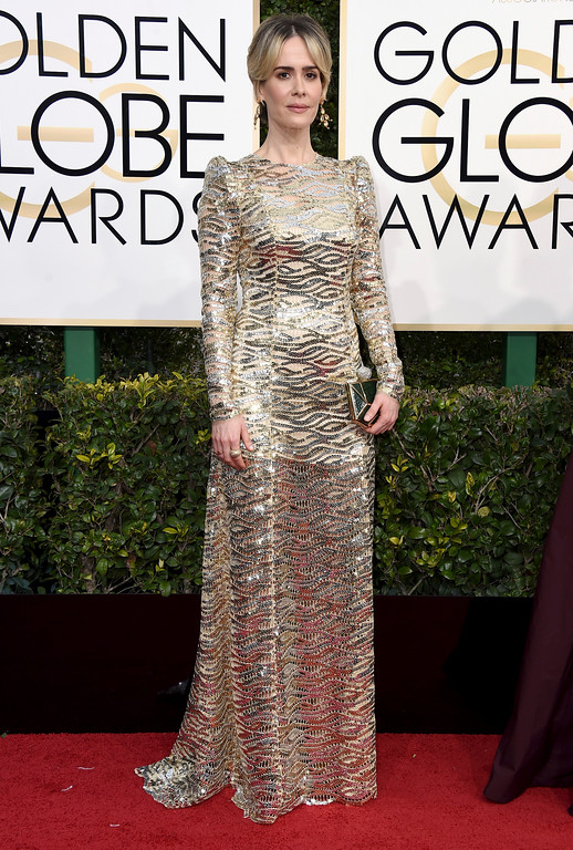 . Sarah Paulson arrives at the 74th annual Golden Globe Awards at the Beverly Hilton Hotel on Sunday, Jan. 8, 2017, in Beverly Hills, Calif. (Photo by Jordan Strauss/Invision/AP)