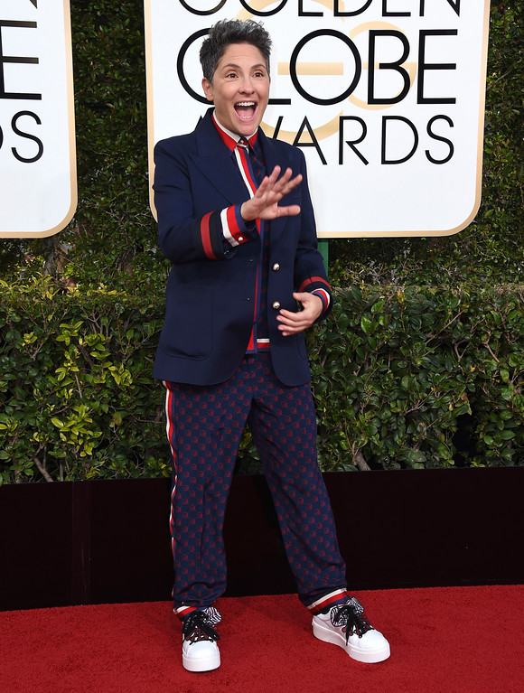 . Jill Soloway arrives at the 74th annual Golden Globe Awards at the Beverly Hilton Hotel on Sunday, Jan. 8, 2017, in Beverly Hills, Calif. (Photo by Jordan Strauss/Invision/AP)