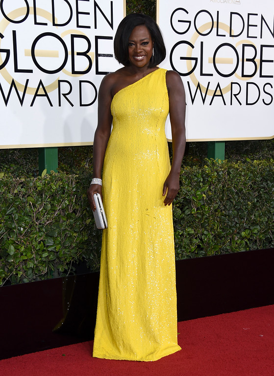 . Viola Davis arrives at the 74th annual Golden Globe Awards at the Beverly Hilton Hotel on Sunday, Jan. 8, 2017, in Beverly Hills, Calif. (Photo by Jordan Strauss/Invision/AP)