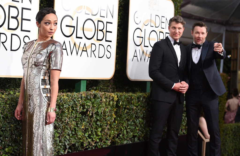 . Ruth Negga, from left, Jeff Nichols, and Joel Edgerton arrive at the 74th annual Golden Globe Awards at the Beverly Hilton Hotel on Sunday, Jan. 8, 2017, in Beverly Hills, Calif. (Photo by Jordan Strauss/Invision/AP)