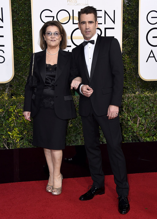 . Rita Farrell, left, and Colin Farrell arrive at the 74th annual Golden Globe Awards at the Beverly Hilton Hotel on Sunday, Jan. 8, 2017, in Beverly Hills, Calif. (Photo by Jordan Strauss/Invision/AP)