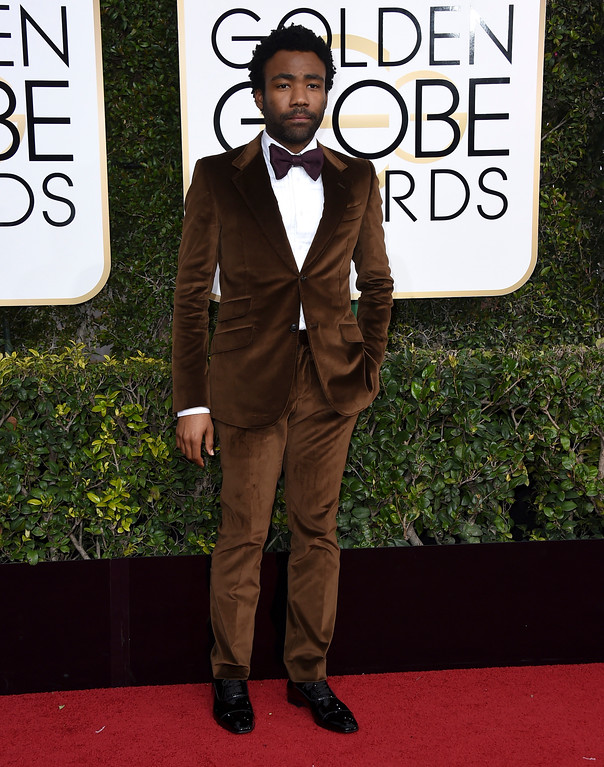 . Donald Glover arrives at the 74th annual Golden Globe Awards at the Beverly Hilton Hotel on Sunday, Jan. 8, 2017, in Beverly Hills, Calif. (Photo by Jordan Strauss/Invision/AP)