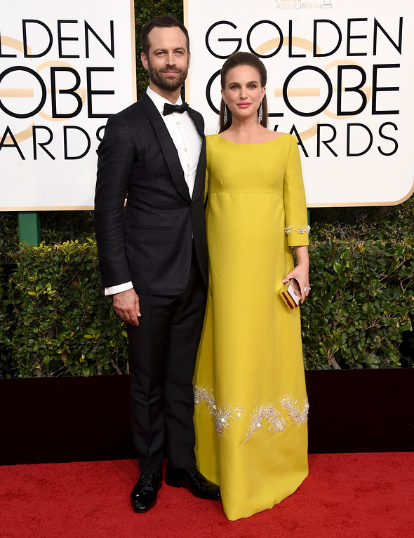 . Benjamin Millepied, left, and Natalie Portman arrive at the 74th annual Golden Globe Awards at the Beverly Hilton Hotel on Sunday, Jan. 8, 2017, in Beverly Hills, Calif. (Photo by Jordan Strauss/Invision/AP)