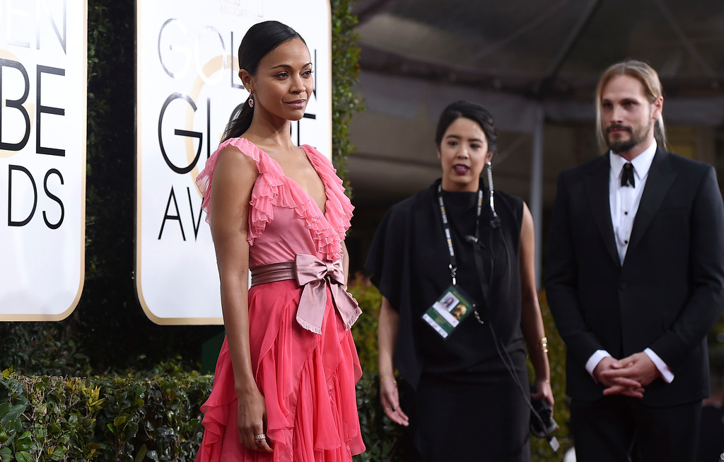 . Zoe Saldana arrives at the 74th annual Golden Globe Awards at the Beverly Hilton Hotel on Sunday, Jan. 8, 2017, in Beverly Hills, Calif. (Photo by Jordan Strauss/Invision/AP)