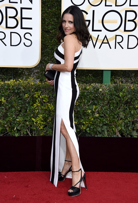 . Julia Louis-Dreyfus arrives at the 74th annual Golden Globe Awards at the Beverly Hilton Hotel on Sunday, Jan. 8, 2017, in Beverly Hills, Calif. (Photo by Jordan Strauss/Invision/AP)