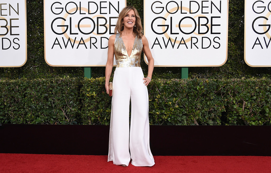 . Felicity Huffman arrives at the 74th annual Golden Globe Awards at the Beverly Hilton Hotel on Sunday, Jan. 8, 2017, in Beverly Hills, Calif. (Photo by Jordan Strauss/Invision/AP)