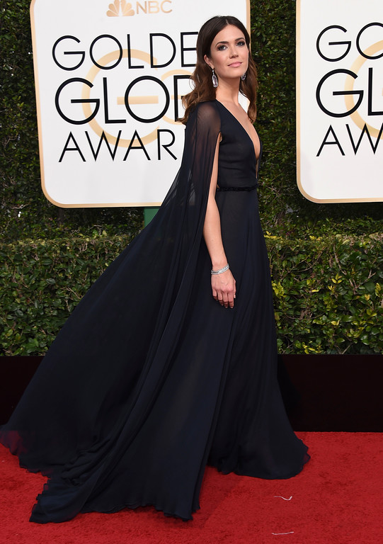 . Mandy Moore arrives at the 74th annual Golden Globe Awards at the Beverly Hilton Hotel on Sunday, Jan. 8, 2017, in Beverly Hills, Calif. (Photo by Jordan Strauss/Invision/AP)