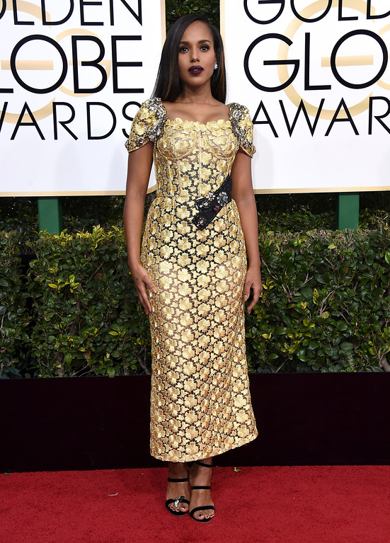 . Kerry Washington arrives at the 74th annual Golden Globe Awards at the Beverly Hilton Hotel on Sunday, Jan. 8, 2017, in Beverly Hills, Calif. (Photo by Jordan Strauss/Invision/AP)