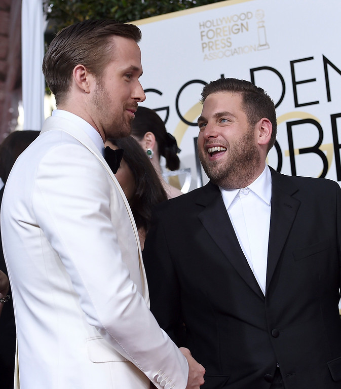 . Ryan Gosling, left, and Jonah Hill arrive at the 74th annual Golden Globe Awards at the Beverly Hilton Hotel on Sunday, Jan. 8, 2017, in Beverly Hills, Calif. (Photo by Jordan Strauss/Invision/AP)