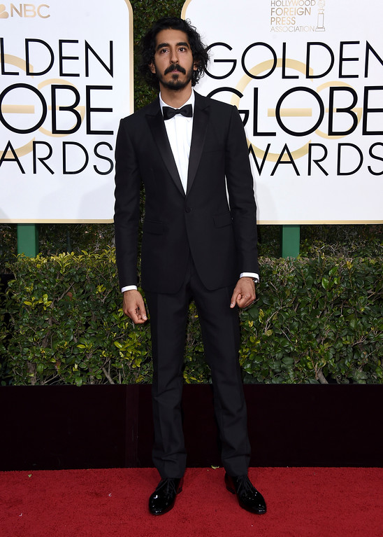 . Dev Patel arrives at the 74th annual Golden Globe Awards at the Beverly Hilton Hotel on Sunday, Jan. 8, 2017, in Beverly Hills, Calif. (Photo by Jordan Strauss/Invision/AP)