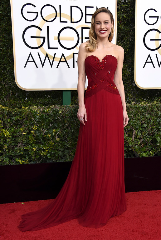 . Brie Larson arrives at the 74th annual Golden Globe Awards at the Beverly Hilton Hotel on Sunday, Jan. 8, 2017, in Beverly Hills, Calif. (Photo by Jordan Strauss/Invision/AP)
