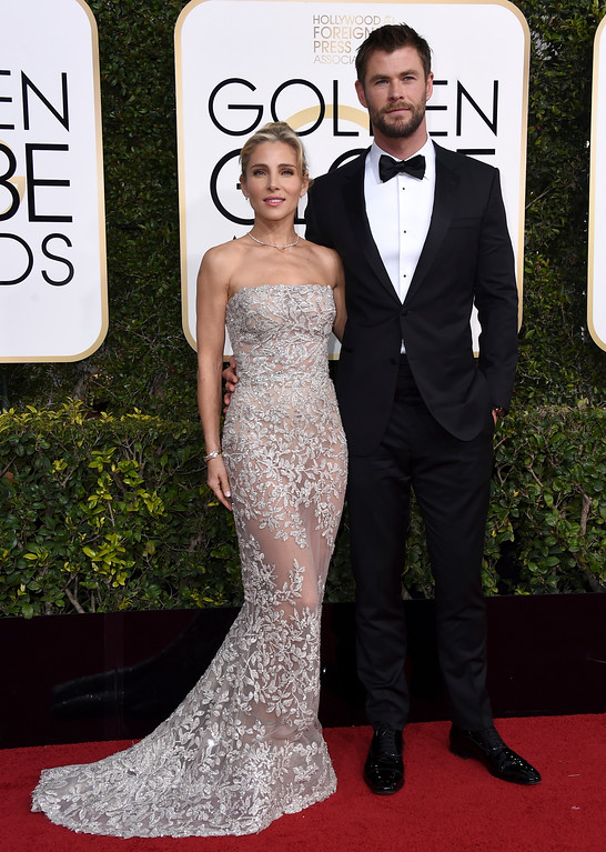 . Elsa Pataky, left, and Chris Hemsworth arrive at the 74th annual Golden Globe Awards at the Beverly Hilton Hotel on Sunday, Jan. 8, 2017, in Beverly Hills, Calif. (Photo by Jordan Strauss/Invision/AP)