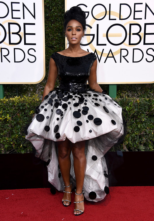 . Janelle Monae arrives at the 74th annual Golden Globe Awards at the Beverly Hilton Hotel on Sunday, Jan. 8, 2017, in Beverly Hills, Calif. (Photo by Jordan Strauss/Invision/AP)
