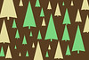 tree symbols create festive winter themed illustration with a stylish brown and green palette