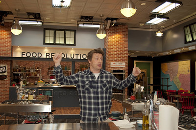JOliver_011211_1008w British Chef Jamie Oliver, once known as The Naked Chef holds a press conference at Jamie's Kitchen in Westood, Los Angeles, CA to discuss the second season of the Emmy Award winning television show, Jamie Olvier's Food Revolution on January 12, 2011