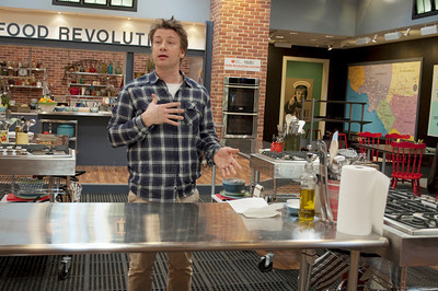 JOliver_011211_1005w British Chef Jamie Oliver, once known as The Naked Chef takes questions  at a press conference at Jamie's Kitchen in Westood, Los Angeles, CA to discuss the second season of the Emmy Award winning television series, Jamie Olvier's Food Revolution on January 12, 2011
