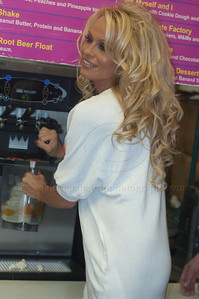 PamAnderson_MOM_lp_040210_1037  Pam Anderson, animal rights activist, pin-up girl, actress, model, celebrity and Dancing With The Stars contestant, introduces a new vegan milkshake at Millions of Milkshakes in West Hollywood, CA 04/09/2010